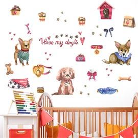 Environment Friendly PVC Cute Dogs Pattern Kids Room Wall Sticker