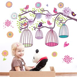 Bird Cages Pattern PVC Waterproof Home Decor Living Room Kids Room Wall Sticker