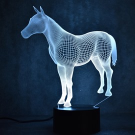 3D LED 7 Color Changing Standing Horse Table Lamp USB Night Light/Lamp