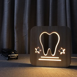 Natural Wooden Creative Tooth Pattern Design Light for Kids