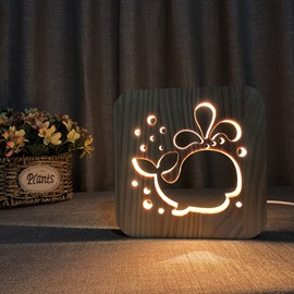 Natural Wooden Creative Whale Pattern Design Light for Kids