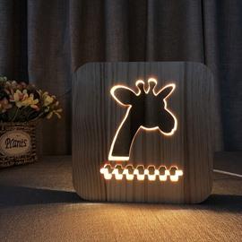 Natural Wooden Creative Giraffe Pattern Design Light for Kids