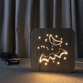 Creative Natural Wooden Bat Pattern Light for Kids