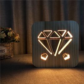 Creative Natural Wooden Diamond Pattern Light for Kids