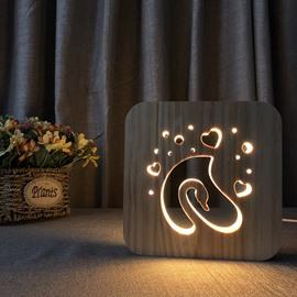 Creative Natural Wooden Swan Pattern Design Light for Kids