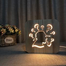 Natural Wooden Creative Pattern Design Light for Kids