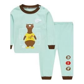 Light Blue Round Collar Bear Print Kids Pajamas