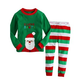 Stripes Pattern I Love Santa Embroidered Kids Christmas Pajamas
