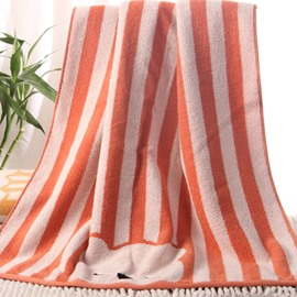 Lovely Cartoon Bear and Stripes Pattern Thick Bath Towel
