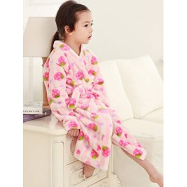 Cute Strawberry Pattern Pink Flannel Kids Robe