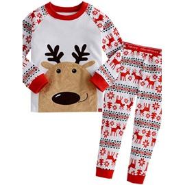 Cute Cotton Deer Pattern Christmas Themed Kids Pajamas