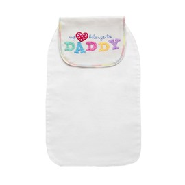 8*13in Daddy Printed Cotton White Baby Sweatband/Towel
