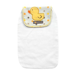 8*13in Yellow Duck and Polka Dot Printed Cotton White Baby Sweatband/Towel