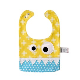 10.23*7.09in Eyes Decoration Cute Cotton Blue and Yellow Baby Bib