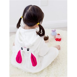 Rabbit Shaped Simple Style Polyester White 1-Piece Kids Robe
