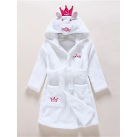 Cat Shaped Polyester White 1-Piece Kids Robe