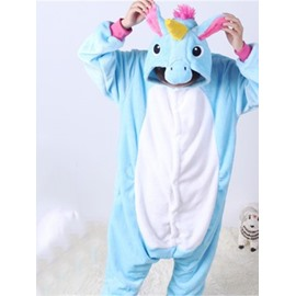 Light Blue Horse Shaped Flannel 1-Piece Kids Pajama