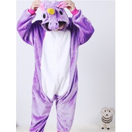 Purple Horse Shaped Flannel 1-Piece Kids Pajama
