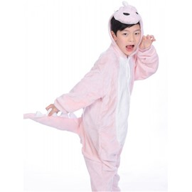 Pink Dinosaur Shaped Flannel 1-Piece Kids Pajama