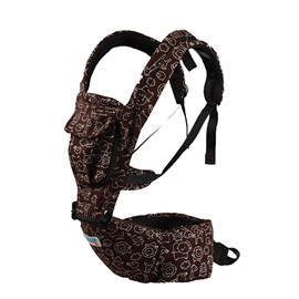 Comfortable Brown Cottton Four-Position Detachable Baby Carrier