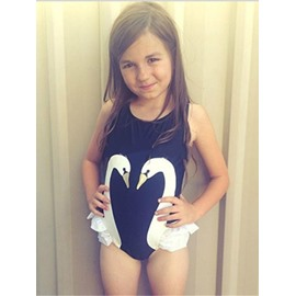 White Swan Printed Spandex Black Girls One-Piece Swimsuit