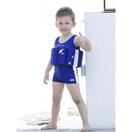 Float Plane Printed Polyester and Chinlon Fabrics Blue Boys One Piece Swimsuit