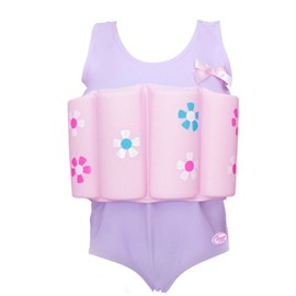 Float Flowers Printed Polyester and Chinlon Purple Girls One-Piece Swimsuit