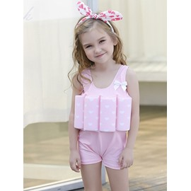 Float Heart Shape Printed Polyester and Chinlon Fabrics Pink Girls One-Piece Swimsuit