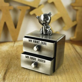 Double Drawer Zinc Alloy Baby First Teeth and Curl Keepsake Box