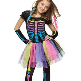 Rainbow Color Skeleton Print Girl' s Halloween Costume
