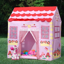 Large Pink House-like Mushrooms and Flowers Kids Indoor Tent