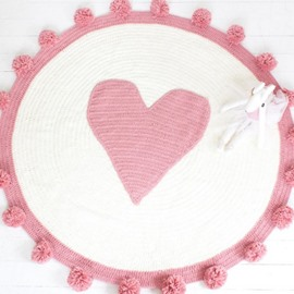 Pink Circle Design Heart Pattern Knit Rug