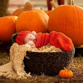 Vivi Pumkin Design Knit Baby Cloth Photo Prop