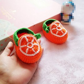 Lovely Orange Design Knitting Baby Booties