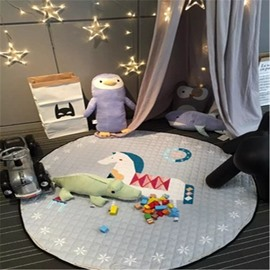 Horse Pattern Round Shape Polyester Gray Baby Play Floor Mat/Crawling Pad