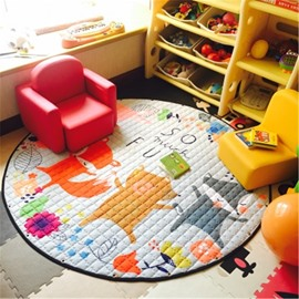 Fox Pattern Round Polyester Baby Play Floor Mat/Crawling Pad