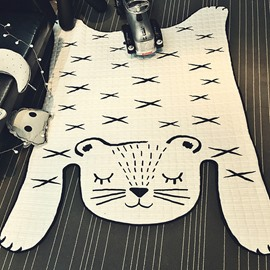 Tiger Shape Polyester White Baby Play Floor Mat/Crawling Pad