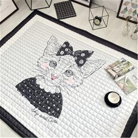 Cartoon Cat Pattern Rectangular Polyester Baby Play Floor Mat/Crawling Pad
