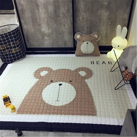 Bear Pattern Rectangular Polyester Beige Baby Play Floor Mat/Crawling Pad