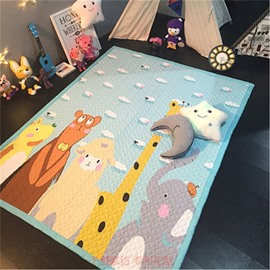 Animals Pattern Rectangular Polyester Blue Baby Play Floor Mat/Crawling Pad