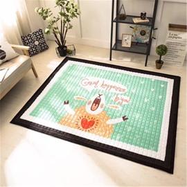 Sheep Pattern Rectangular Polyester Green Baby Play Floor Mat/Crawling Pad