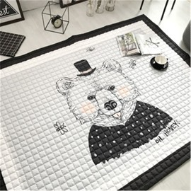 Bear Pattern Rectangular Polyester Baby Play Floor Mat/Crawling Pad