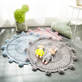 Ball of Yarn Design Acrylic Fibers Handmade Crochet Round Rug/Mat