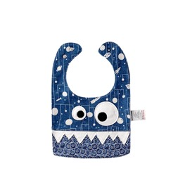 10.23*7.09in Eyes Decoration Spacecraft Printed Cute Cotton Blue Baby Bib