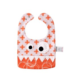 10.23*7.09 in Eyes Decoration Cute Cotton Orange Baby Bib