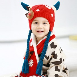 Antlers Shape Pigtail and Deer Decoration Cotton Baby Hat and Scarf Set