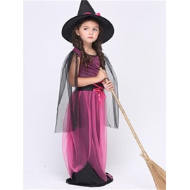 Halloween Witch Polyester and Net Cloth Purple Kids Costume