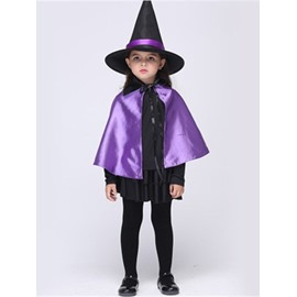Halloween Little Witch Polyester Purple Kids Costume Set