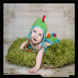 Dinosaur Shaped Yarn Simple Style Multi-Color Baby Hat