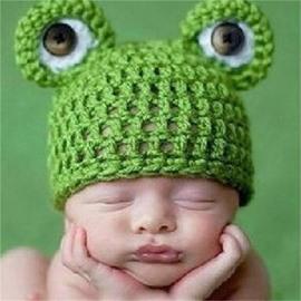 Frog With Big Eyes Shaped Yarn Green Kids Hat